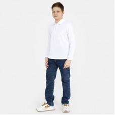 Футболка Поло с длинным рукавом белая (пуговицы)