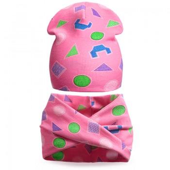 Комплек шапка и шарф хомут для девочки Орнамент