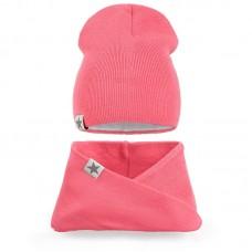 Комплект шапка и шарф хомут Вязанный