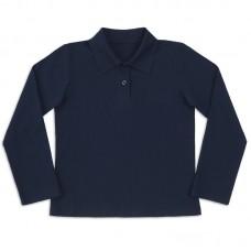 Поло с длинным рукавом темно-синяя (пуговицы)